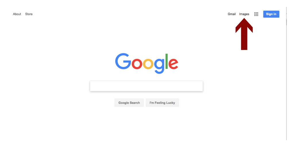 "image of a google search page with a red arrow pointing to the word ""Images"" in the upper right corner"